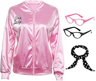 50S Pink Satin Costume Jacket with Polka Dot Scarf Cat Eye Glasses Women Girls