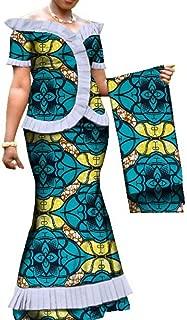 Womens 3 Piece Ankara Skirt Set Elegant Ruffle Trim Wax Print Mermaid Skirt