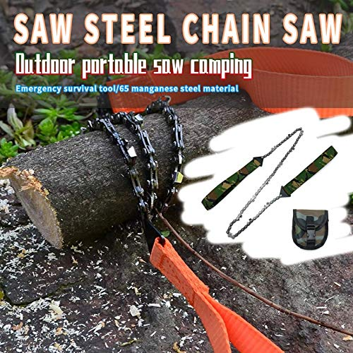 SSJIA Survival Chain Saw Portable Outdoor Survival Chain Saw Hand 24 Inch ChainSaw Folding Pocket Gear Camping Emergency Tool For Camping Hunting,03 orange