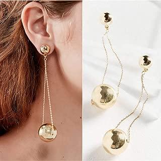 Doubnine Long Chain Earrings Metallic Ball Gold Drop Dangle Modern Threader Earrings Wedding Bridal Jewelry for Women
