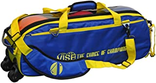 Vise Clear Top 3 Ball Roller Bowling Bag- Blue/Yellow