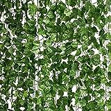 LA.PONEE 12 Strands Artificial Ivy Leaf Plants Vine Hanging Garland Fake Foliage Flowers Home Kitchen Garden Office Wedding Wall Decor(Green 2-84 Feet)