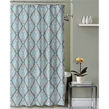 Bravo Stone Grey Teal White Canvas Fabric Shower Curtain: Diamond Medallion Design, 70 by 72 inches