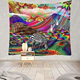 Trippy Tapestry,LingBen Colorful tapestry Mountain Abstract Art Tapestries Psychedelic Landscape Tapestry Cloud tapestry Grass Weed tapestry Fantasy Tapestry Wall Hanging for Bedroom Dorm 51.2×59.1 in
