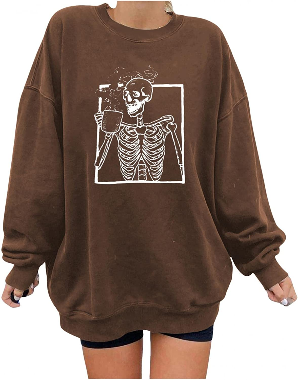 FABIURT Women's Long Sleeve Crewneck Sweatshirts Halloween Skull Vintage Graphic Oversized Pullover Tops Tee Shirts