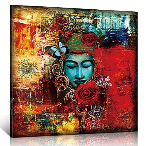 TONZOM Canvas Wall Art Stretched Ready to Hang Buddha Painting Print on The Quality Canvas Colorful Artwork Paintings Decor Picture Artwork Hanging for Living Room (12x12inch)
