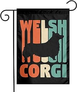 Vintage Welsh Corgi Garden Flag Welcome House Flag For Celebration,Festival,Home,Outdoor,Garden Decorations 12 X 18 Inch