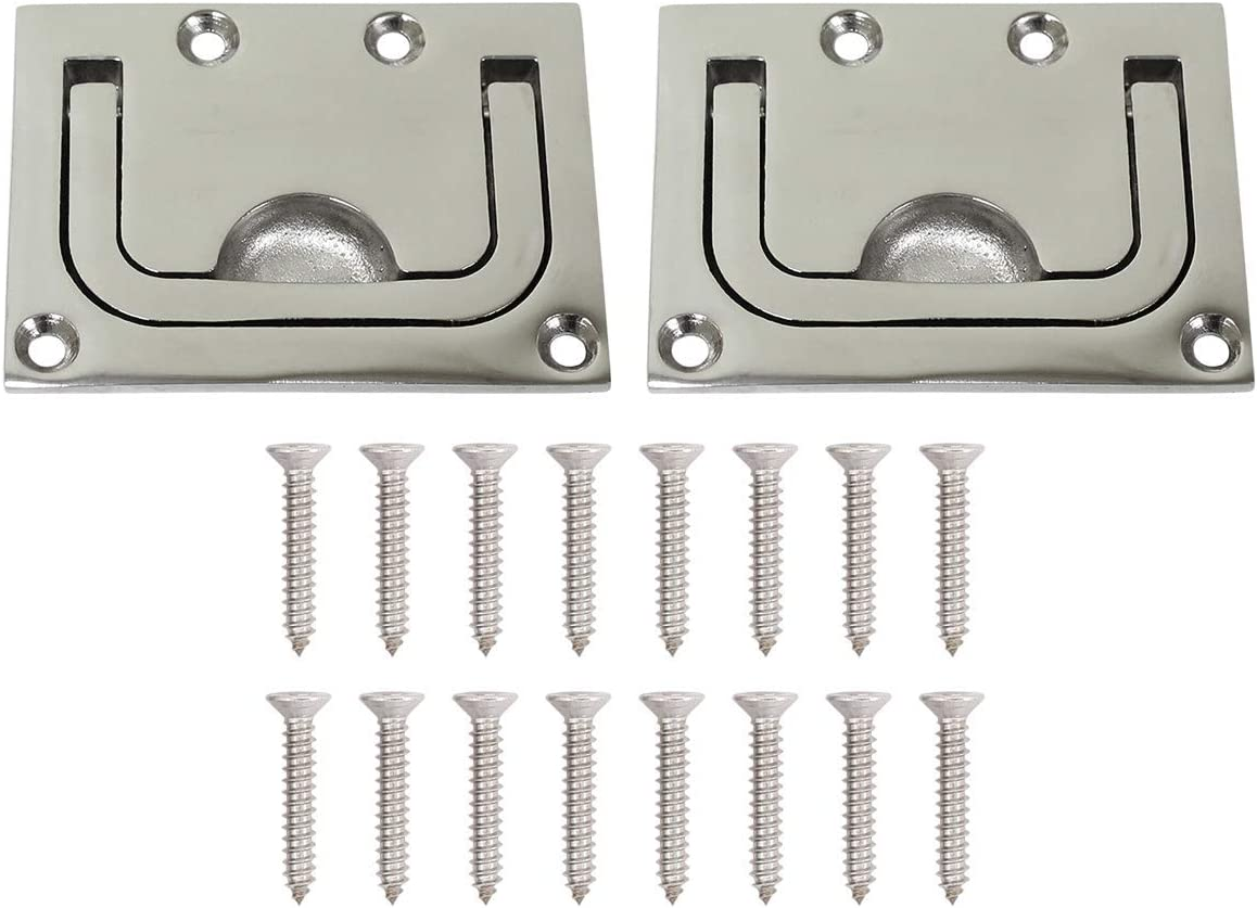 ApplianPar Boat Marine Locker Hatch Latch Cabinet Flush Mount Lifting Ring Stainless Steel Hidden Recessed Furniture Square Flush Pull Ring Handles Pack of 2 with Mount Screws