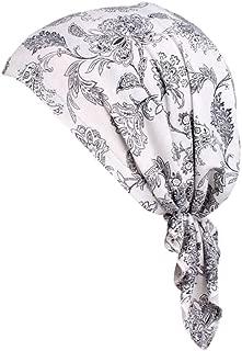 TWGONE Turbans For Women India Muslim Elastic Wrap Print Cotton Hat Head Scarf