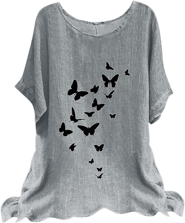 Women Summer Loose Printed Cotton and Linen Crew Neck T-Shirt Short Sleeve Tops Summer Tops Tee Shirts Blouse