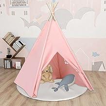 Lektält tunnlar barn tipi-tält med väska persikohud rosa 120 x 120 x 150 cm