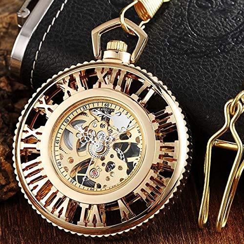 LOOIUEX Reloj de Bolsillo Vintage Big Roman Numerals Hollow Mechanical Pocket Watch Collar Luxury Gold Silver Fob Reloj de Mano para Mujeres Hombres Cadena de Bruja, Gold