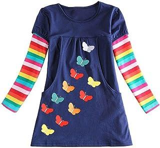 فساتين بناتي من القطن بأكمام طويلة كاجوال مزين بالترتر مزين بالفراشات للفتيات من 3-8 سنوات