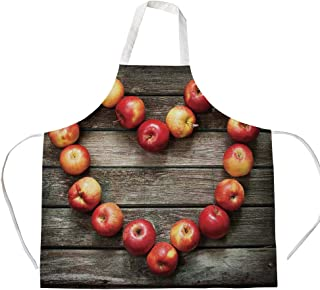 iPrint Cotton Linen Apron,Two Side Pocket,Modern,Rustic Style Home Cafe Decor Wooden Kitchen Surface Fresh Apples Image Art Veggies Fruit Decorative,Brown Red,for Cooking Baking Gardening