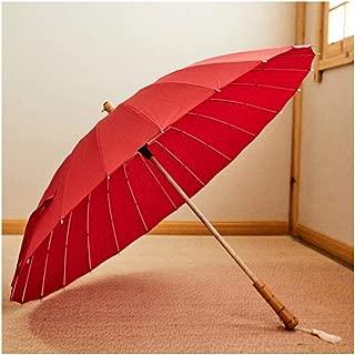 ZXAZBHD Retro 24 Bone Straight Shank Long Umbrella Parasol Outdoor, Travel (Color : Red)