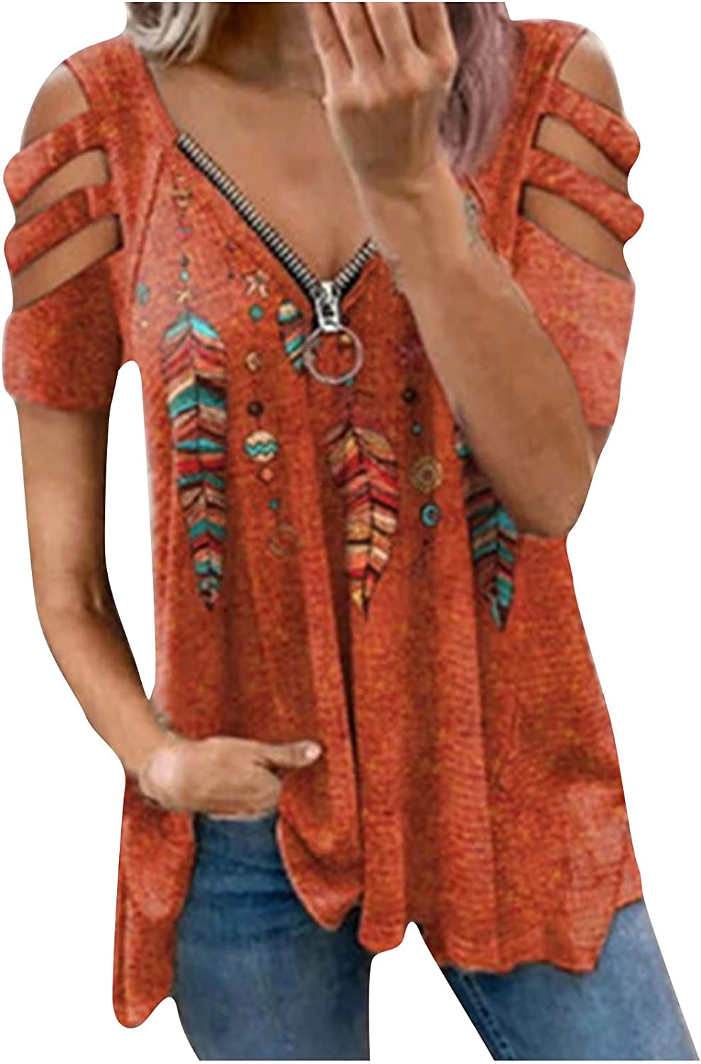 Women Floral Printed Tops Hollow Out Long Sleeve Blouses V-Neck Zipper Casual Tunic T-shirt
