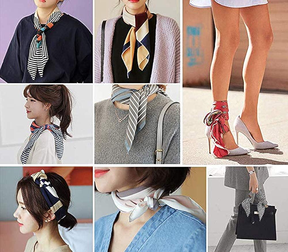 Xinqiao Womens Silk Like Cartoon Print Fashion Scarf Chic Satin Wrap for Girls