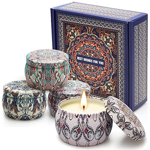 Juego de 4 velas perfumadas de 125 g de cera de soja. Juego de 4 velas perfumadas para aromaterapia, regalo para mujer, madre, alivio del estrés para San Valentín, cumpleaños, boda, baño, yoga