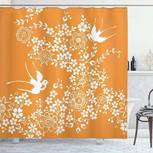 """Ambesonne Japanese Shower Curtain, Oriental Floral Japanese Style Flying Birds Pastel Colored Spring Pattern, Cloth Fabric Bathroom Decor Set with Hooks, 84"""" Long Extra, Marigold White"""