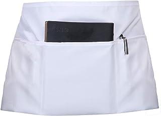 SONGXIN Server Aprons with 3 Deep Pockets - Waist Apron Waiter Waitress Apron Water Resistant Added Long Waist Strap Reinforced Seams Half Apron for Women Man Restaurant Apron, White