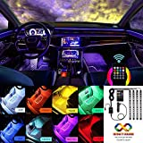 Interior Car Lights, Multicolor Music Car Lights Interior, 4pcs 48 LED Car Interior Lights Kit with Sound Active Function and Wireless Remote Control, Including Car Charger, DC 12V