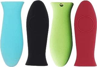 YouU Silicone Hot Handle Holder Potholder Rubber Pot Handle Sleeve Heat Resistant for Cast Iron, Pans, Metal Frying Pans, Skillets, Griddles- Red, Orange, Green,Black, Blue (4 Pcs)