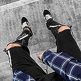 ShZyywrl Pantalones Jeans Jean Pantalones Vaqueros Negros para Hombre Skinny Ripped Stretch Slim Fit Pants Zipper Holes Jeans XXXL 1988Black