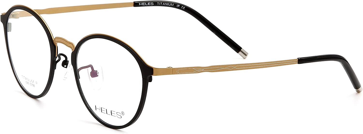 Heles Unisex Classic Retro Pure Tianium Full Rim Optical Frame Eyeglasses