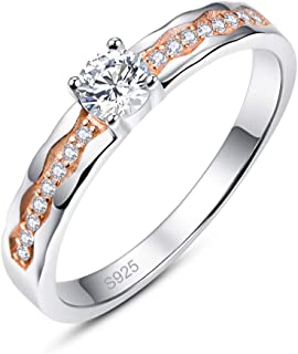 Empsoul 925 Sterling Silver Eternity Ring Round Cut White Topaz Rose Gold Cubic Zirconia Halo Engagement Ring for Women Gi...