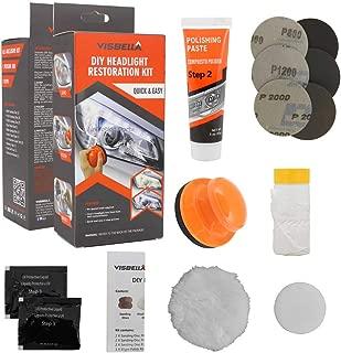 Visbella DIY Vehicle Headlight Restoration Kit, Headlight Restore Cleaner with UV Protection (Manual, Handheld)