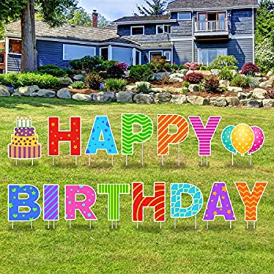 Greatingreat 15 Packs Happy Birthday Yard Sign with Stakes - Perfect Outdoor Lawn Decorations with Bright & Fantasy Colorful Letters Balloon Cake Made of Thick Weatherproof Corrugated Board