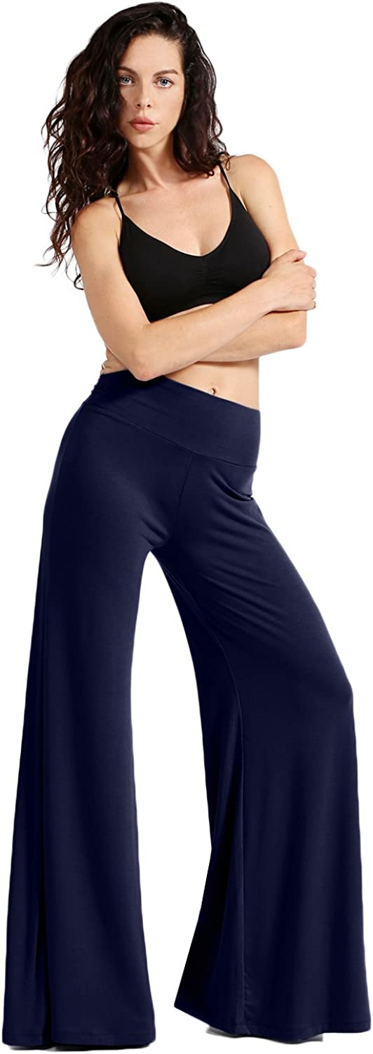 NE PEOPLE Womens Comfy Basic Solid High Waist Stretch Bell Bottom Flare Boho Palazzo Pants Trousers (S-3XL)