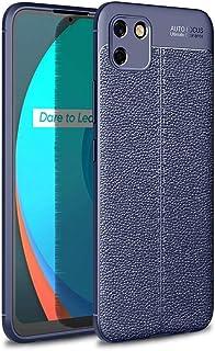 جراب هاتف من السيليكون الناعم مضاد للسقوط - أزرق اللون - من أجل Realme C11 Litchi