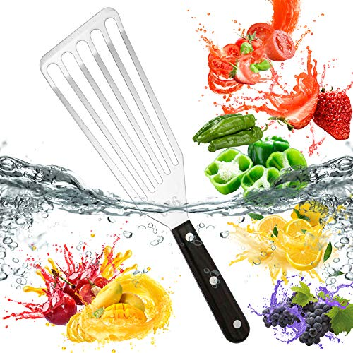 Fish Spatula,UUSHER Metal Spatulas,Stainless Steel Slotted Flexible Turner with Riveted Handle Perfect for Kitchen Cooking Fish,Egg,Meat,Dumpling,Flipping, Turning, Frying & Grilling