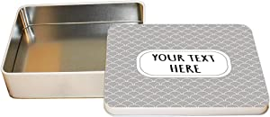 "Aluminum Metal Tin Custom Scale Pattern 6 Pattern Grey White Adults Trinket Box 4""x6"""