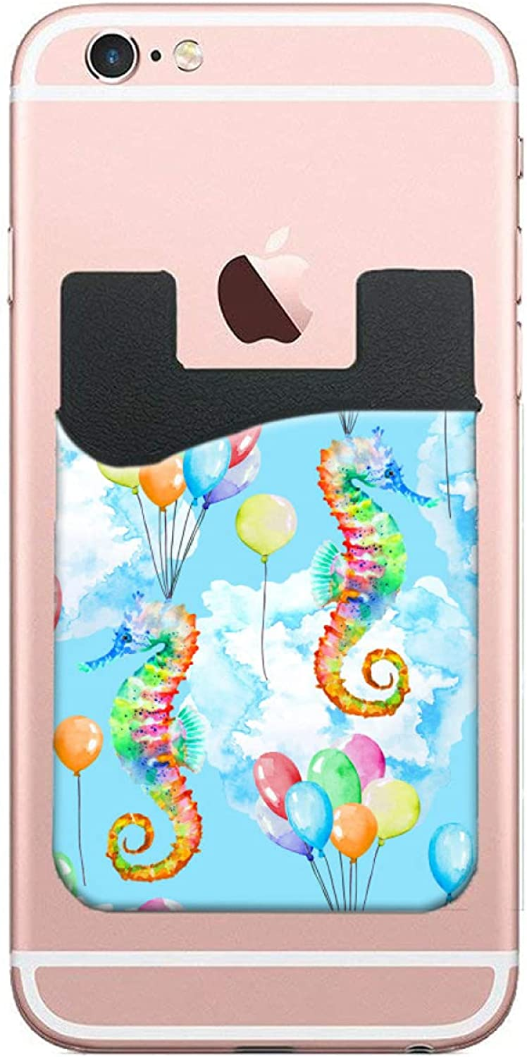 Card Holder For Back Of Balloo Elegant Colorful Atercolor Phone Super-cheap Seahorse