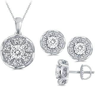 La Joya Round White Simulated CZ Diamond Sterling Silver Pendant Earring Bridesmaid Jewelry Set