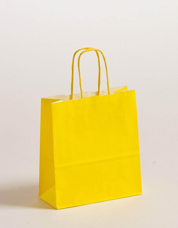 Geschenktaschen Papiertragetüten Papiertragetüten Papiertragetüten Gelb 18 x 8 x 25cm VE 300 Stück B0744GV7T2 | In hohem Grade geschätzt und weit vertrautes herein und heraus  6fdcae