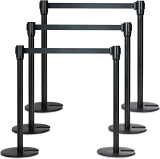 Goplus 6Pcs Stanchion Post Crowd Control Barrier Stainless Steel Stanchions with 3 Retractable Belt Posts Queue Pole, 37