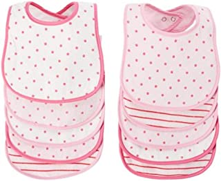 BornCare Baby Girl's 3 Layers Waterproof Baby Bib Set with Snaps AOP Colors, Pink, Medium, 10 Piece