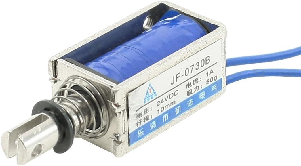 Sourcingmap a13060500ux0004 - Dc 24v 1a empuje tipo de tracción marco abierto electroimán solenoide 10mm 80g