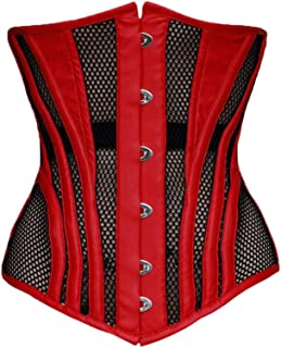 c97d4e52542 Red Satin Strip Black Net Waist Cincher Bustier Plus Size Underbust Sheer  Corset