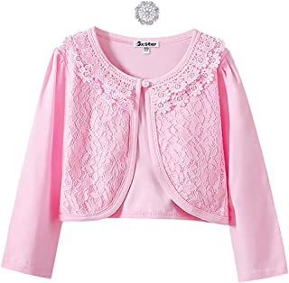 bd0dbb09d67 Girls Lace Bolero Shrugs Long Sleeve Cardigan Dress Cover Up Tops for  Little Kid