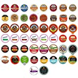 Custom Variety Pack Coffee, Tea, and Hot Chocolate Holiday Winter Sampler - Single Serve Pods for Keurig K-Cup Machines, includes Grove Square and Crazy Cups Hot Cocoa, 50 Assorted Flavors Party Mix