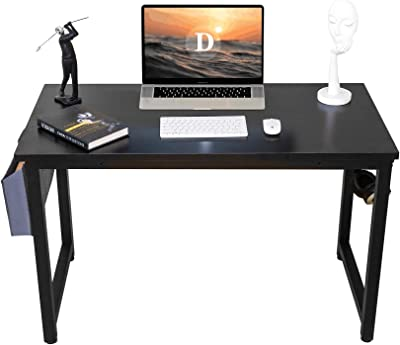 """Computer Desk 47"""" Modern Sturdy Office Desk PC Laptop Notebook Writing Table for Home Office Workstation with Storage Bag,Black"""