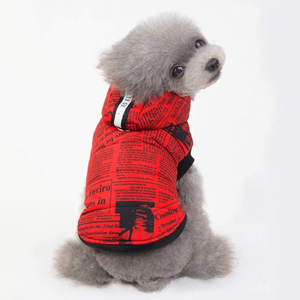 Hundemantel Hund Hoodies Kleidung Kapuzenpullis Hawkimin Gedruck Zeitung Pet Puppy Katze Niedlicher Baumwoll Warm Coat Pullover Hundekleidung Hundebekleidung Hundekost/üm