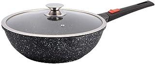 Kamberg - 0008057 - Wok 30 cm - Manche Amovible - Fonte d'Aluminium - Revêtement pierre - Couvercle en verre - Tous feux d...
