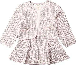 1-6 Años,SO-buts Pequeños Bebés Niñas Abrigos a Cuadros De Estilo Occidental Chaqueta Falda Suéter De Ganchillo De Punto R...