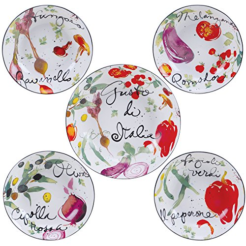 Certified International Corp 89233 Certified International Melanzana Pasta Set, Multicolored, 5 Piece