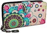styleBREAKER Geldbörse mit Ethno Blumen und Blüten Muster, Vintage Design, Reißverschluss,...